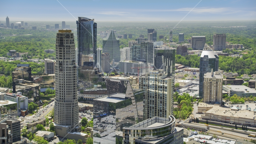 Skyscrapers and high-rises with hazy skies, Buckhead, Georgia Aerial Stock Photo AX36_074.0000189F | Axiom Images