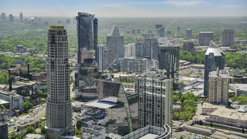 Skyscrapers near Marsh Mercer Building, Buckhead, Georgia Aerial Stock Photos | AX36_075.0000000F