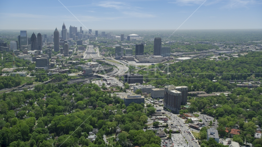Peachtree Road toward Midtown skyline; Atlanta, Georgia Aerial Stock Photos | AX36_084.0000062F