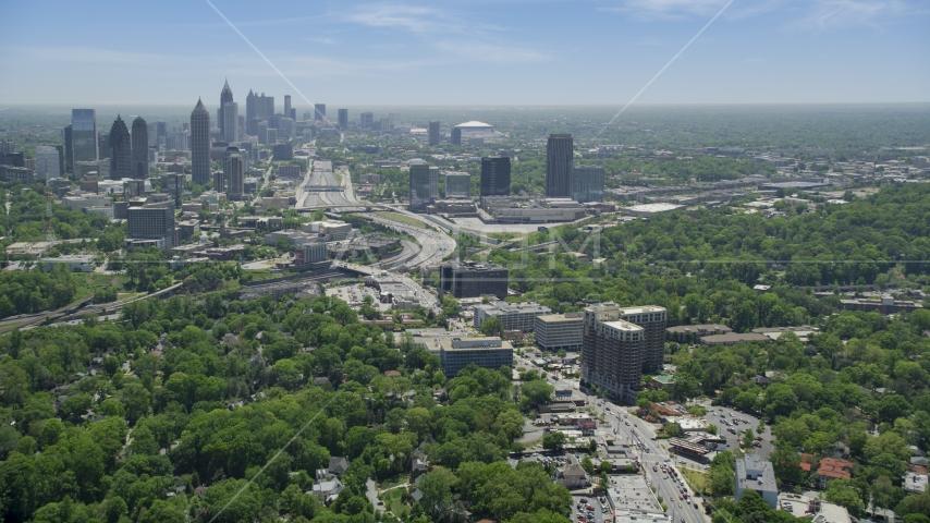 Peachtree Road toward Midtown skyline; Atlanta, Georgia Aerial Stock Photo AX36_084.0000062F | Axiom Images