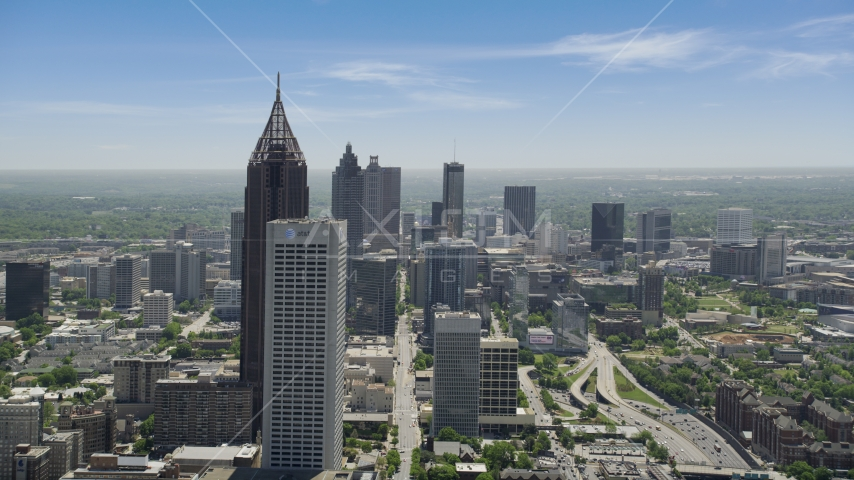 Bank of America Plaza and AT&T Building, hazy, Midtown Atlanta, Georgia Aerial Stock Photo AX36_090.0000046F | Axiom Images