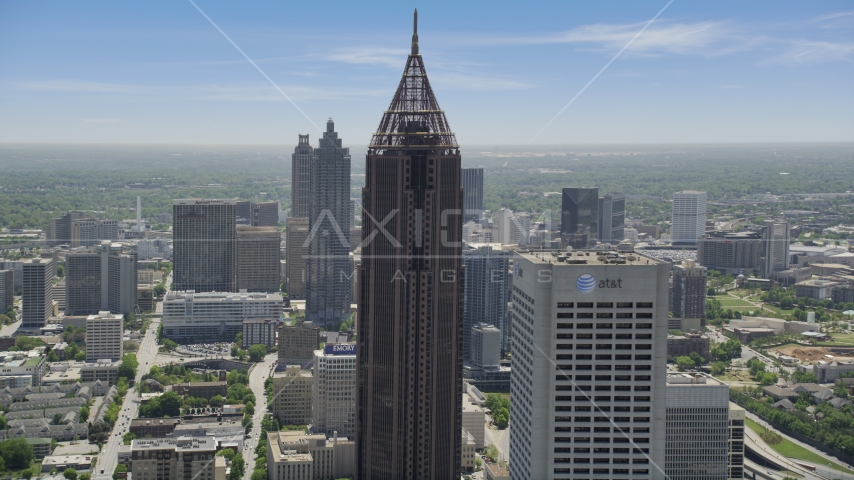 Bank of America Plaza near Midtown skyscrapers, Atlanta, Georgia Aerial Stock Photos | AX36_091.0000098F