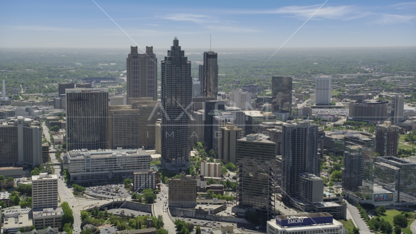 SunTrust Plaza and high-rises on a hazy day, Downtown Atlanta, Georgia Aerial Stock Photos | AX36_092.0000075F
