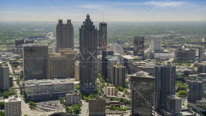 SunTrust Plaza and neighboring high-rises, Downtown Atlanta, Georgia Aerial Stock Photo AX36_092.0000188F | Axiom Images