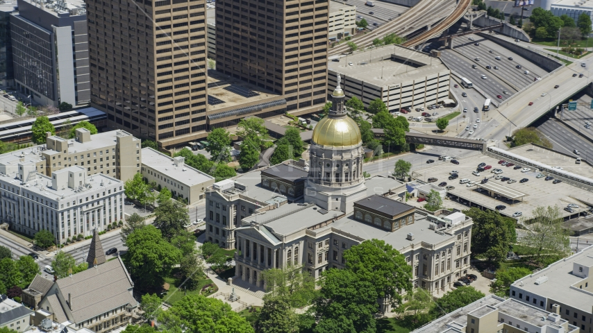Georgia State Capitol, Downtown Atlanta, Georgia Aerial Stock Photos | AX36_097.0000163F