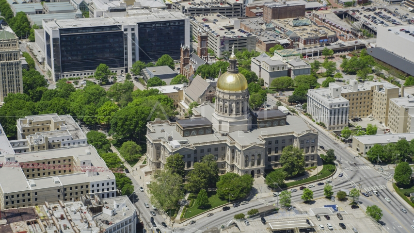 The Georgia State Capitol, Downtown Atlanta Aerial Stock Photo AX36_099.0000097F | Axiom Images