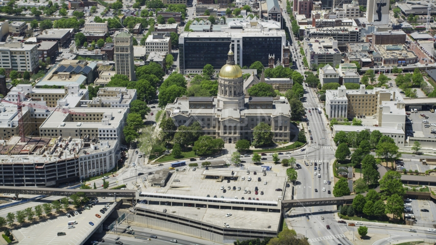 Georgia State Capitol, Atlanta, Georgia Aerial Stock Photos | AX36_101.0000151F