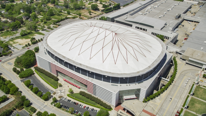 Looking down on Georgia Dome, Downtown Atlanta Aerial Stock Photo AX36_104.0000000F | Axiom Images