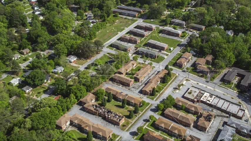 Abandoned residential buildings near Lincoln Cemetery, West Atlanta, Georgia Aerial Stock Photos | AX37_003.0000043F