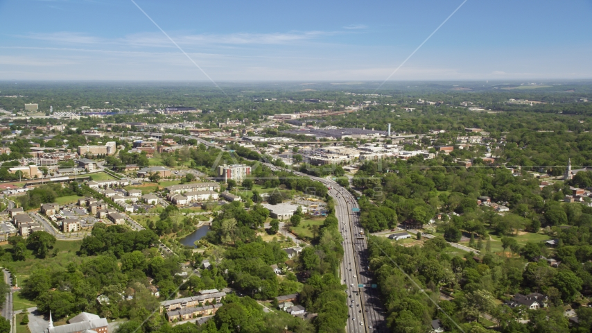 Residential area, skyline in the distance, West Atlanta, Georgia Aerial Stock Photos | AX37_007.0000303F