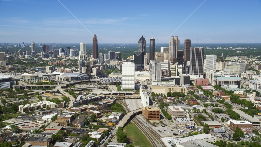 Midtown skyscrapers with Downtown Atlanta in the distance, Georgia Aerial Stock Photos | AX37_011.0000045F