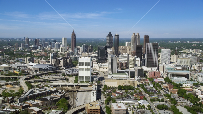 Midtown skyscrapers with Downtown Atlanta in the distance, Georgia Aerial Stock Photos | AX37_011.0000209F