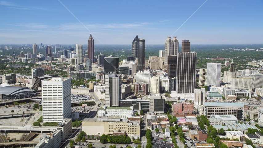 Downtown Atlanta from Midtown skyscrapers, Georgia Aerial Stock Photos | AX37_012.0000140F