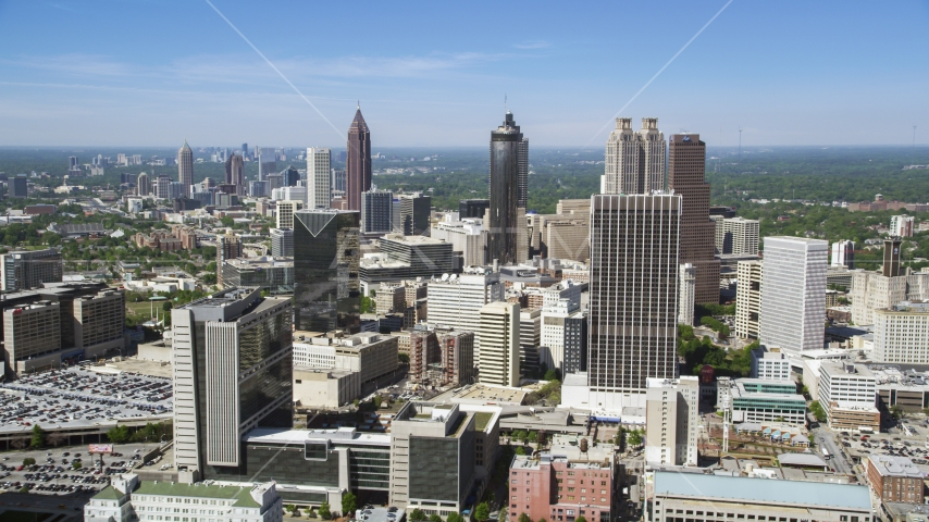 Downtown Atlanta from Midtown skyscrapers, Georgia Aerial Stock Photos | AX37_012.0000385F