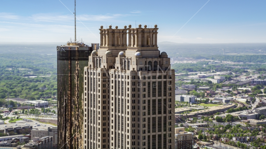 The top of 191 Peachtree Tower, Downtown Atlanta, Georgia Aerial Stock Photo AX37_015.0000002F | Axiom Images