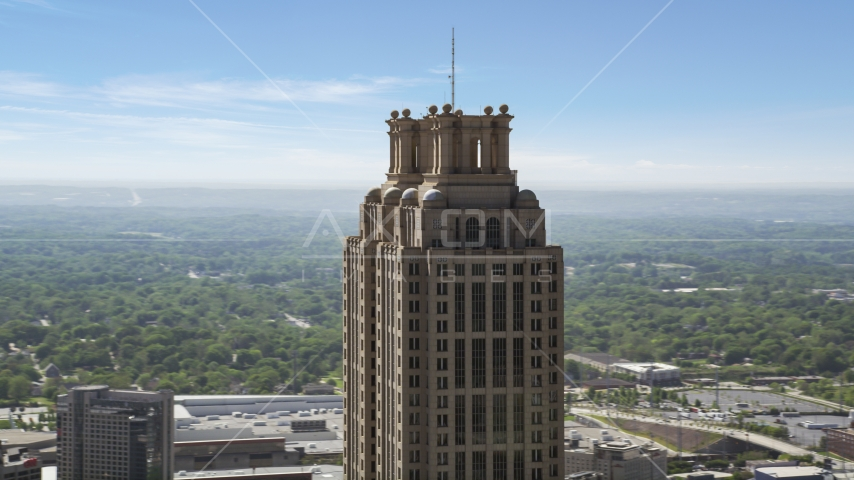 The top of 191 Peachtree Tower, Downtown Atlanta, Georgia Aerial Stock Photos | AX37_015.0000106F