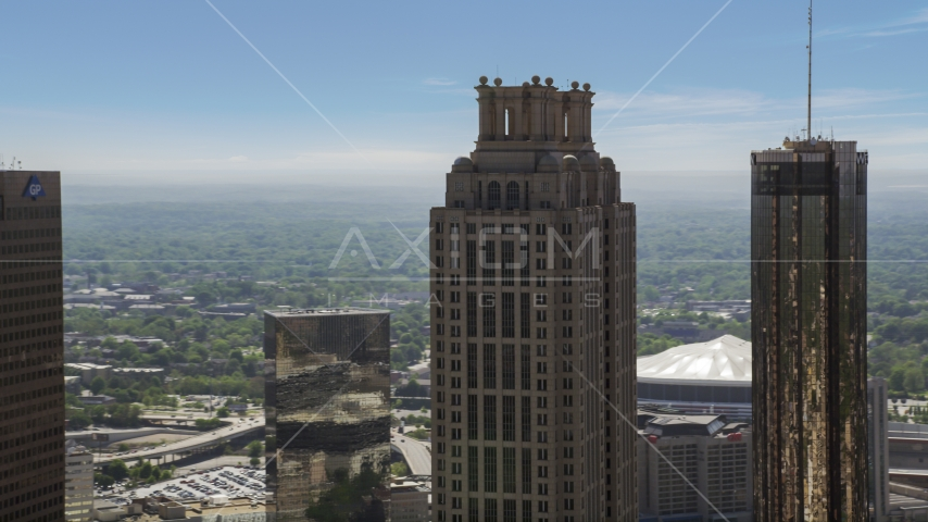 Top of 191 Peachtree Tower, Downtown Atlanta, Georgia Aerial Stock Photos | AX37_015.0000302F