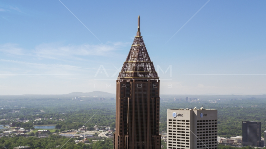 Top of Bank of America Plaza, Midtown Atlanta, Georgia Aerial Stock Photos | AX37_016.0000052F