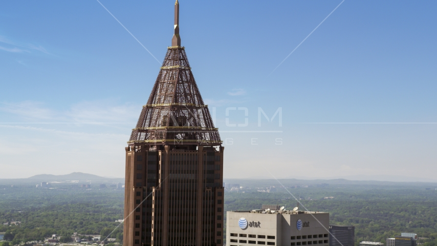 Top of the Bank of America Plaza, Midtown Atlanta Aerial Stock Photos | AX37_016.0000240F