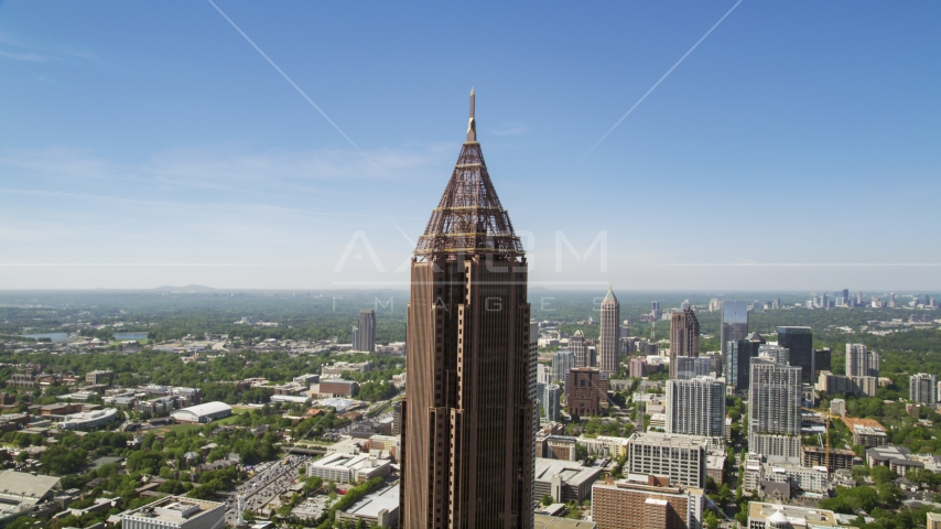 Top half of Bank of America Plaza, Midtown Atlanta, Georgia Aerial Stock Photos | AX37_017.0000000F