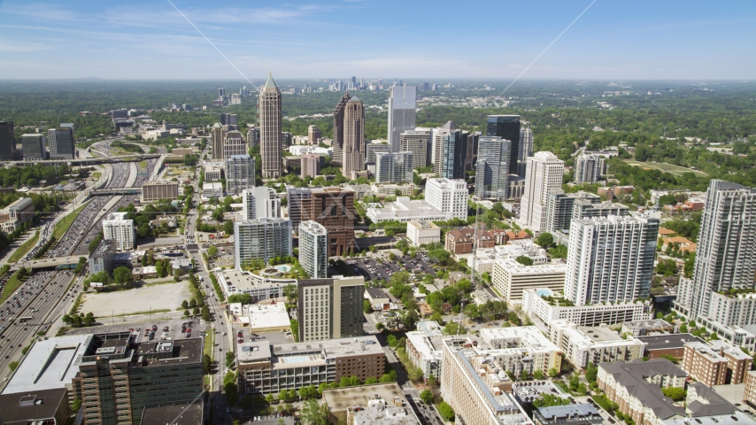 Midtown skyscrapers, hazy, Atlanta, Georgia Aerial Stock Photos | AX37_018.0000051F