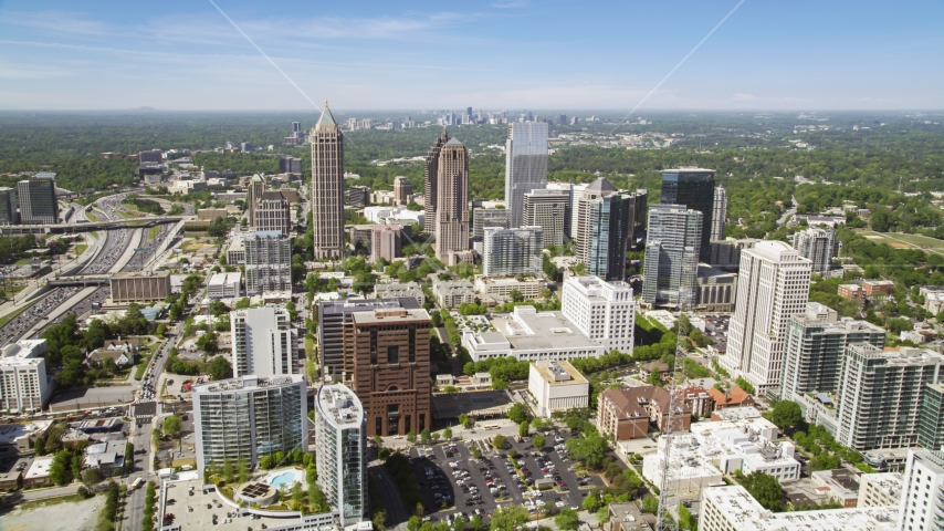 Midtown Atlanta skyscrapers, Georgia Aerial Stock Photo AX37_018.0000240F | Axiom Images