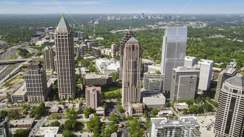 Wide shot of Midtown Atlanta skyscrapers; Georgia Aerial Stock Photos | AX37_020.0000168F