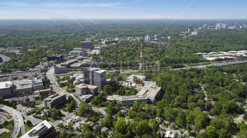 WSB TV station, Midtown Atlanta, Georgia Aerial Stock Photo AX37_022.0000048F | Axiom Images