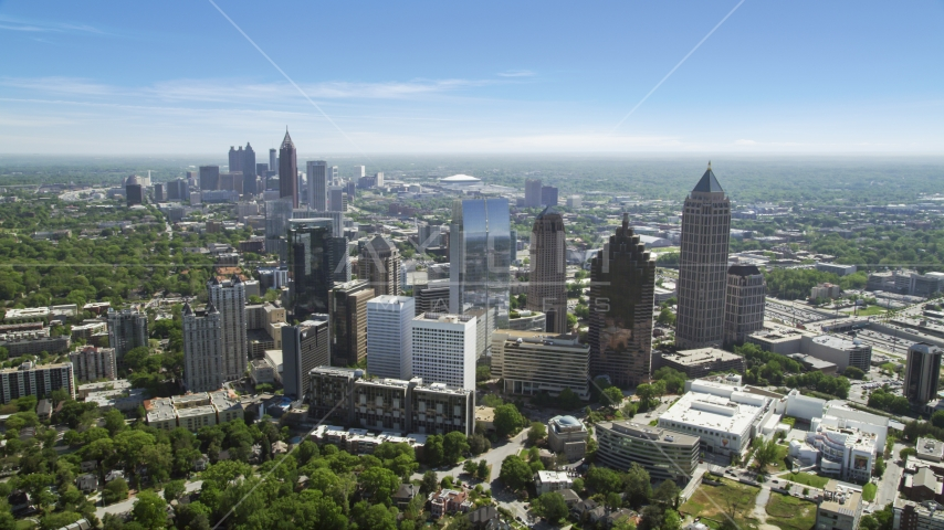 Downtown skyscrapers seen from Midtown Atlanta, Georgia Aerial Stock Photo AX37_024.0000000F | Axiom Images
