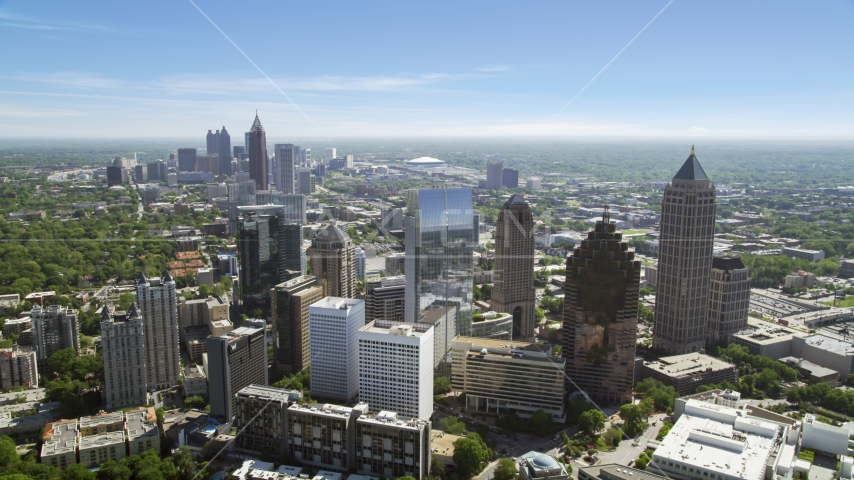 Midtown skyscrapers with Downtown in distance, Atlanta, Georgia Aerial Stock Photos | AX37_024.0000140F
