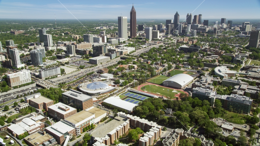 Georgia Institute of Technology and Midtown Atlanta skyscrapers, Georgia Aerial Stock Photos | AX37_034.0000215F