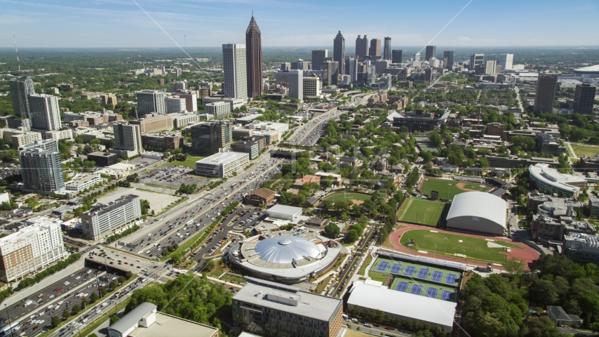 Alexander Memorial Coliseum, Downtown Connector, Midtown Atlanta, Georgia Aerial Stock Photos | AX37_035.0000051F