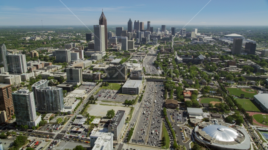 Downtown Connector,  Midtown skyscrapers, Atlanta, Georgia Aerial Stock Photos | AX37_035.0000251F
