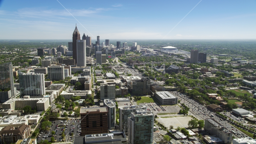 Bank of America Plaza and Downtown skyscrapers, from Midtown Atlanta, Georgia Aerial Stock Photos | AX37_036.0000134F