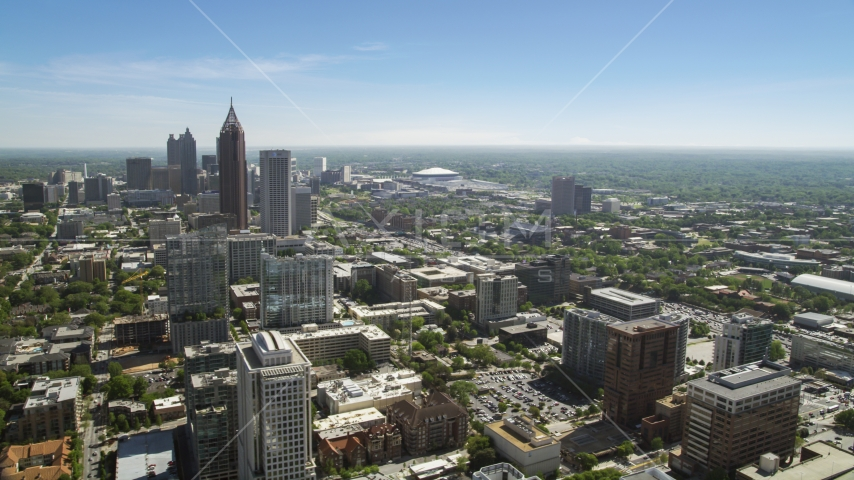 Midtown Atlanta skyscrapers near Downtown, Georgia Aerial Stock Photo AX37_037.0000017F | Axiom Images