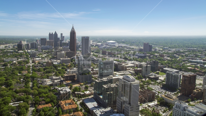 Midtown Atlanta skyscrapers with Downtown in the distance, Atlanta Georgia Aerial Stock Photos | AX37_037.0000120F
