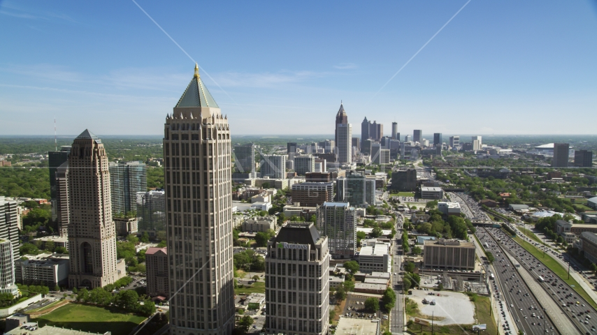 Midtown Atlanta skyscrapers and office buildings along Downtown Connector, Georgia Aerial Stock Photos | AX37_041.0000075F