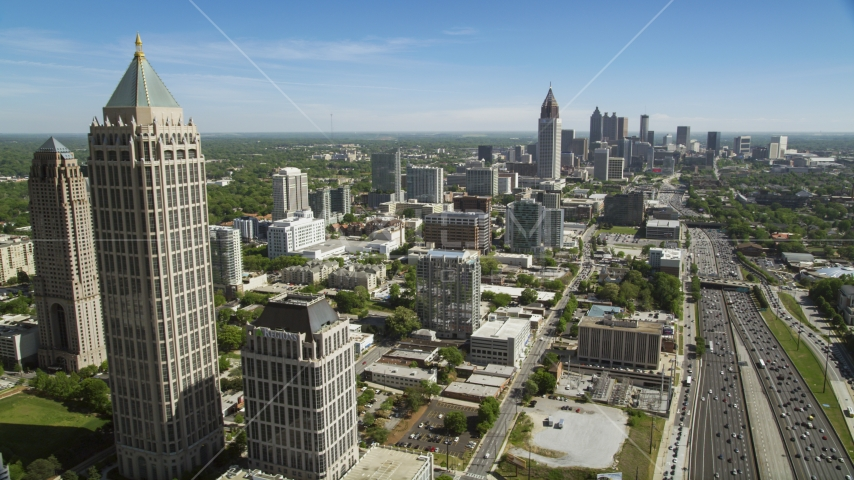 Midtown Atlanta skyscrapers and office buildings along Downtown Connector, Georgia Aerial Stock Photo AX37_041.0000178F | Axiom Images