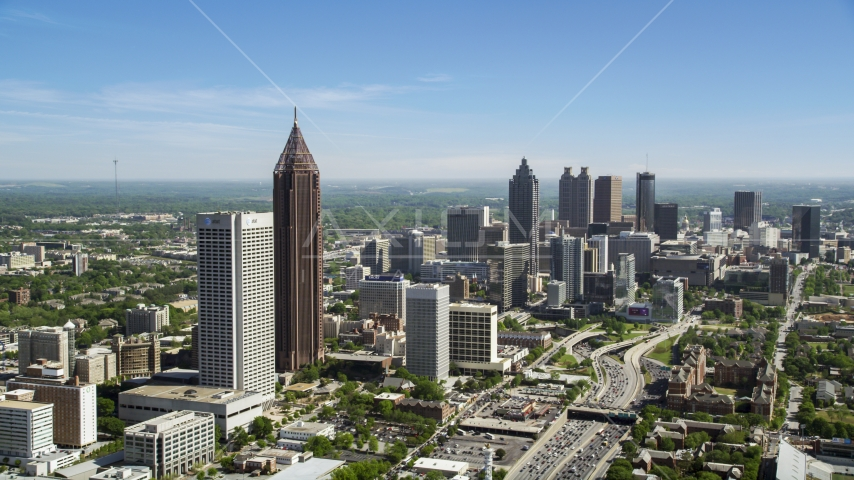Midtown skyscrapers with Downtown in the distance, Atlanta, Georgia Aerial Stock Photos | AX37_042.0000083F