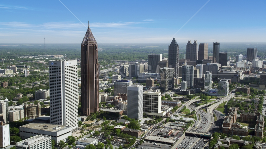 Midtown Atlanta skyscrapers near Downtown skyscrapers, Georgia Aerial Stock Photos | AX37_042.0000265F