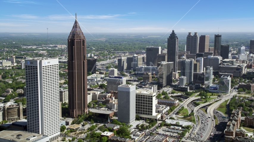 Midtown and Downtown skyscrapers, Atlanta, Georgia Aerial Stock Photos | AX37_042.0000321F