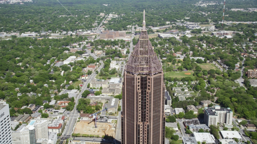 Top half of the Bank of America Plaza, Midtown Atlanta, Georgia Aerial Stock Photos | AX37_044.0000000F