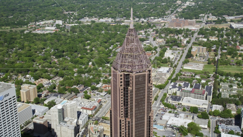 Top of Bank of America Plaza, Midtown Atlanta, Georgia Aerial Stock Photos | AX37_044.0000082F