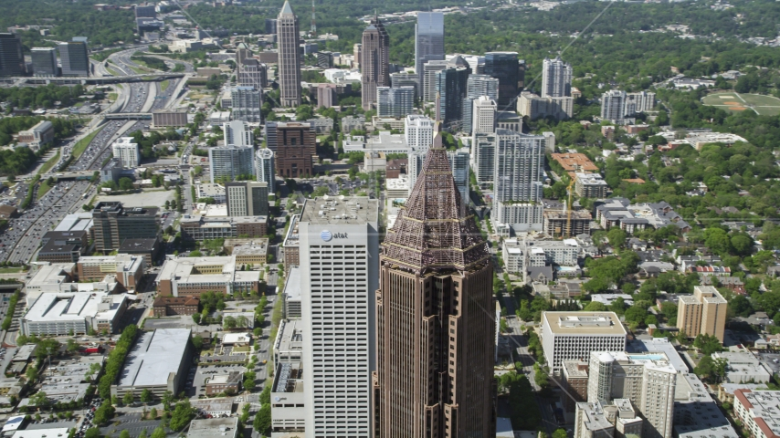 Bank of America Plaza near Georgia Tech campus, Atlanta, Georgia Aerial Stock Photo AX37_045.0000034F | Axiom Images