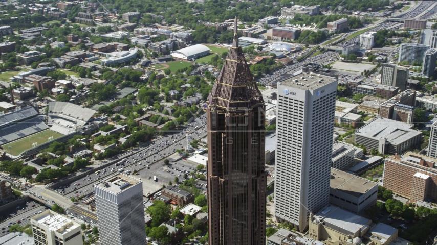Bank of America Plaza near Georgia Tech campus, Atlanta, Georgia Aerial Stock Photo AX37_045.0000277F | Axiom Images