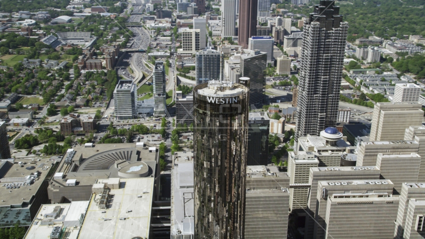 Westin Peachtree Plaza Hotel, Downtown Atlanta, Georgia Aerial Stock Photo AX37_057.0000371F | Axiom Images
