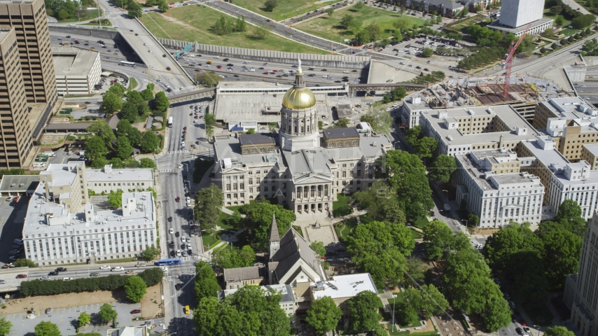Georgia State Capitol, Downtown Atlanta, Georgia Aerial Stock Photos | AX37_060.0000287F