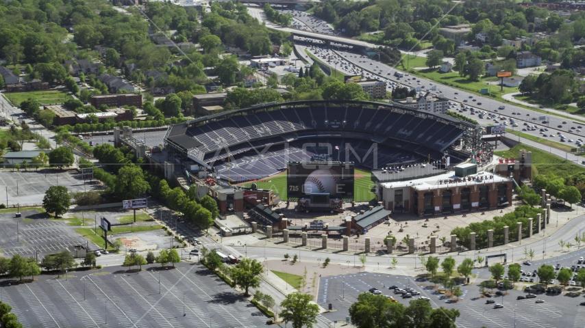 Empty Turner Field, Atlanta, Georgia Aerial Stock Photo AX37_061.0000097F | Axiom Images