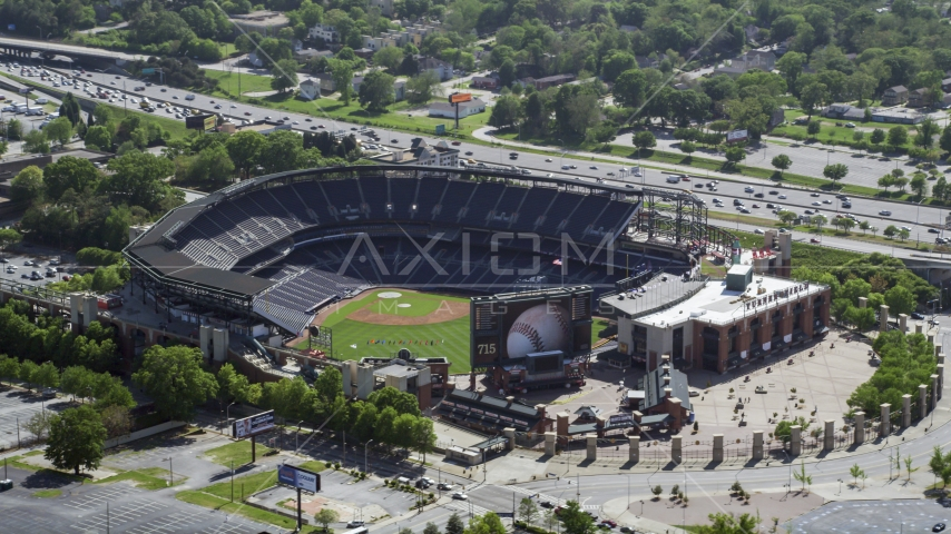 Empty Turner Field, Atlanta, Georgia Aerial Stock Photos | AX37_061.0000308F