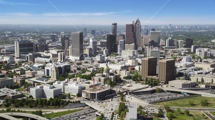 State Capitol and skyscrapers, Downtown Atlanta, Georgia Aerial Stock Photos | AX37_063.0000052F